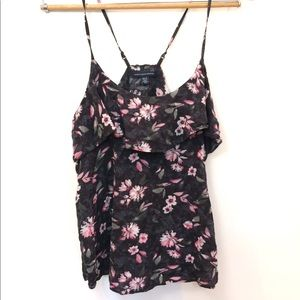 American Eagle Black Cami Floral Top XS Sleeveless